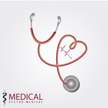 heart sounds: medical design over gray background illustration Illustration