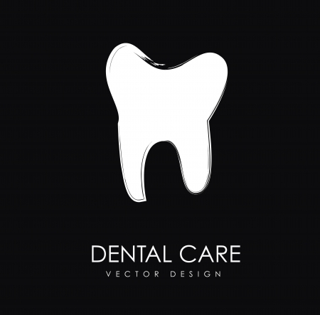 dental care silhouette over black background illustration Stock Vector - 19772675