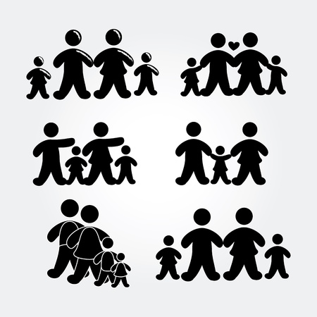 family silhouette over gray background illustration  Stock Vector - 19772587