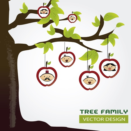 family tree over gray background illustration