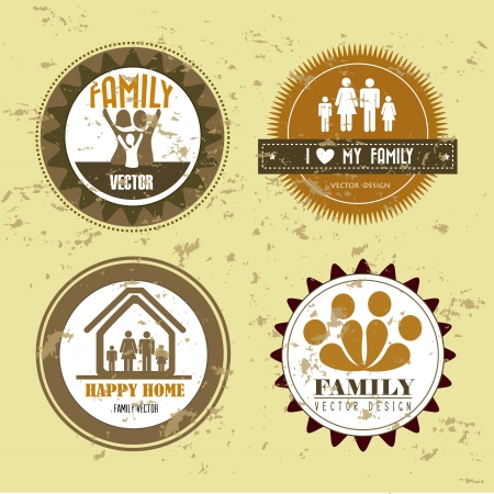 family seals over vintage background illustration Vector