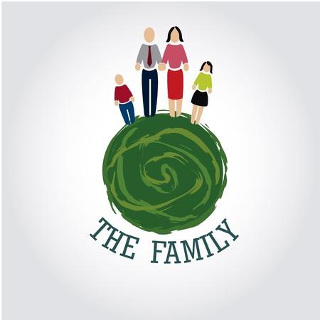 madre tierra: la familia sobre gris ilustraci�n de fondo