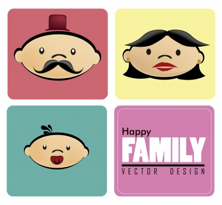 family icons over beige background illustration Vector