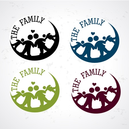 happy family isolated: the family seals  over grunge background illustration