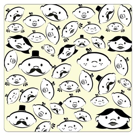 familiy: family skin  over yellow background illustration