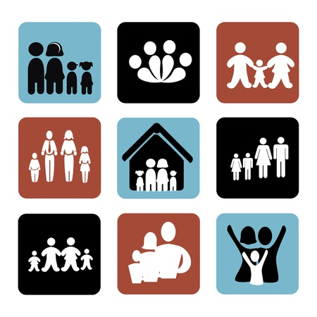 home icon: family icons over white background illustration