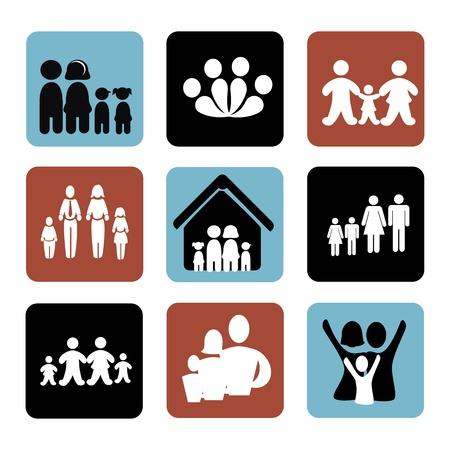 relative: family icons over white background illustration