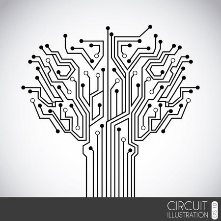 circuitos electronicos: circuito icono sobre fondo gris ilustraci�n