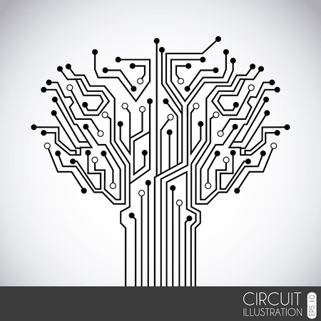 printed circuit board: icon circuit over gray background illustration