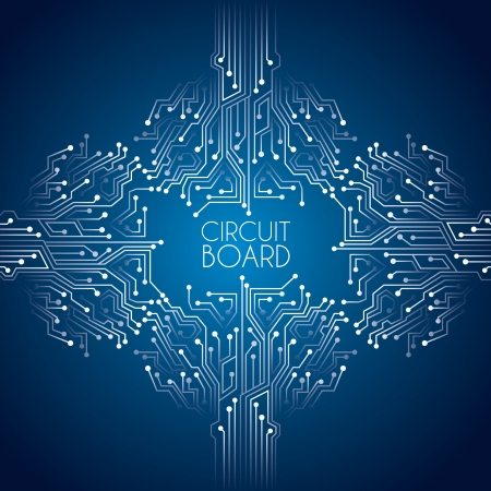 electronic circuit: circuit board over blue background vector illustration