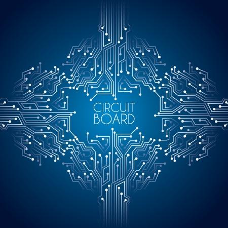 circuitos electronicos: placa de circuito sobre fondo azul ilustraci�n vectorial