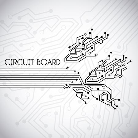circuit  board  over vintage background illustration Vector