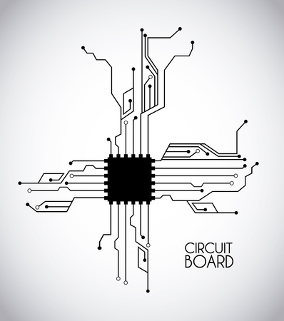chip and circuit over white  background illustration