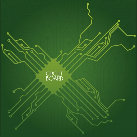 circuit board design over green background illustration  Vector