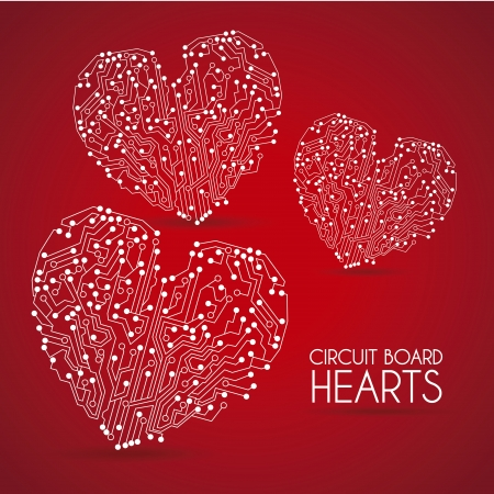 circuit hearts over red background illustration  Vector