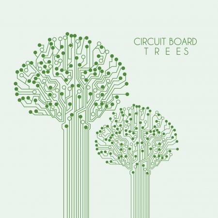 arbre de circuit sur fond vert illustration Vecteurs