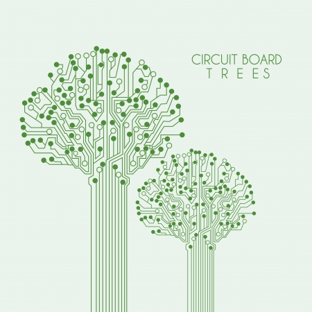 electronic circuit: circuit tree over green background illustration  Illustration