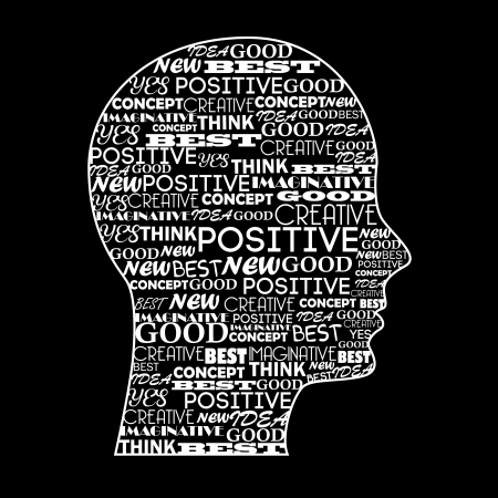 positive mind over black background illustration  Vector