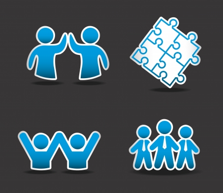 team work over black background illustration  Vector