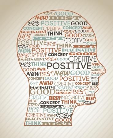 actitud positiva: cerebro información sobre el fondo grunge