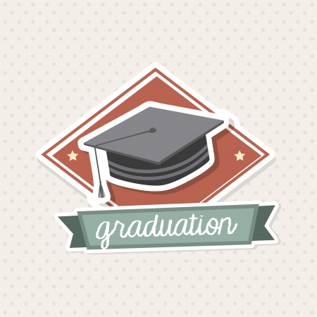 graduation icon over vintage background illustration