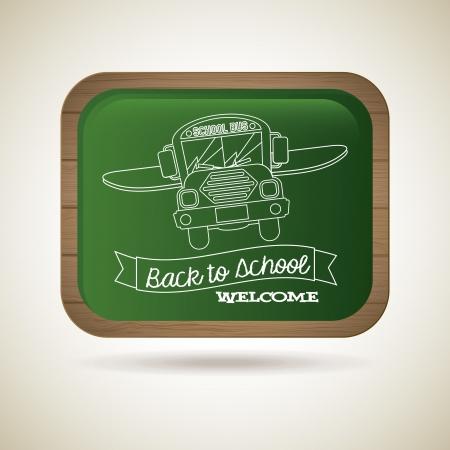 green board: green board back to school over vintage background illustration