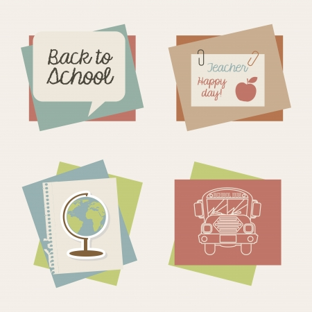 school icons over cream background illustration  Vector