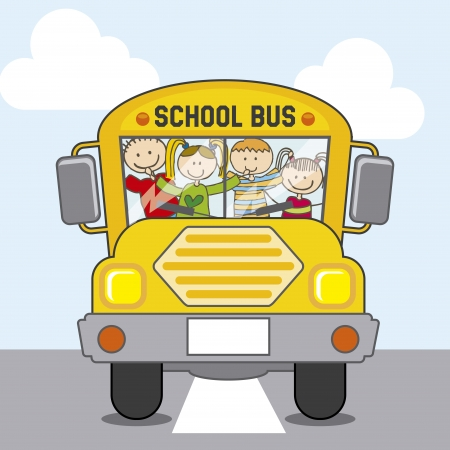 bus school over sky background illustration  Vector