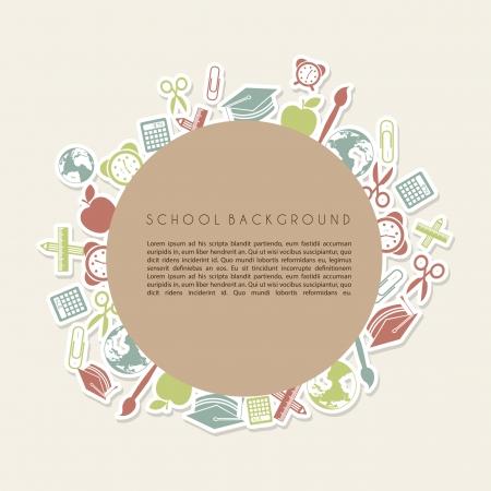 scuola telaio su sfondo crema illustrazione Vettoriali