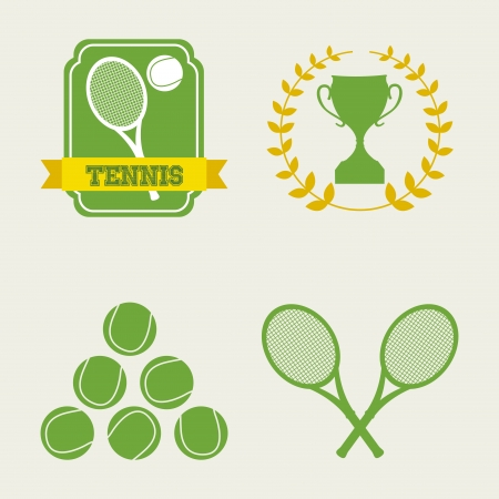 tennis icons over cream background illustration Stock Vector - 19772882