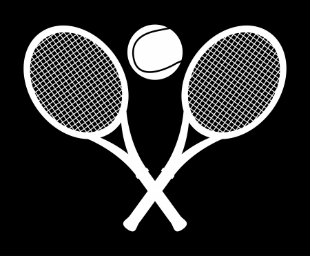 bounces: monochrome tennis design over black background illustration  Illustration