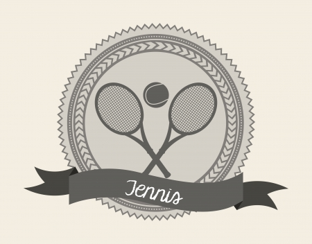 tennis seal over cream background illustration Stock Vector - 19772802