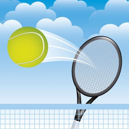 implements: tennis landscape over sky background illustration