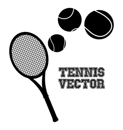 bounces: tennis silhouette over cream background illustration