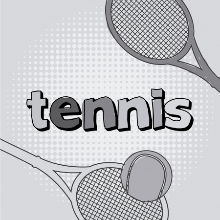 implements: tennis icon with ball and racket illustration Illustration