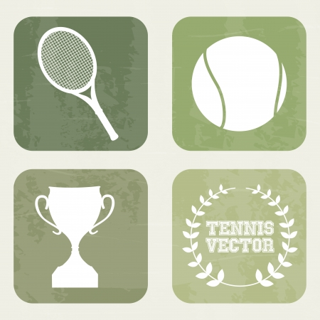 bounces: tennis icons over vintage background illustration  Illustration