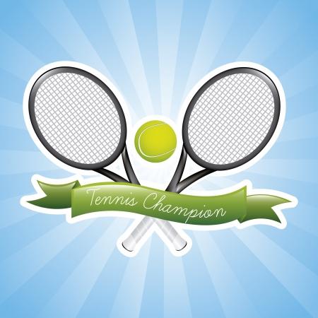 implements: tennis champions over blue background illustration Illustration