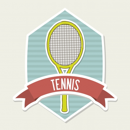 tennis emblem over cream background illustration  Stock Vector - 19772722
