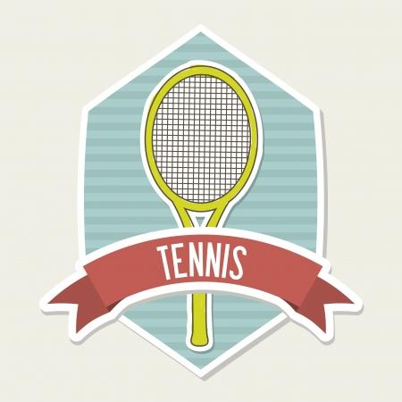 tennis emblem over cream background illustration Stock Vector - 19772722
