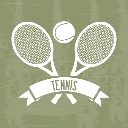 implements: tennis design over grunge background illustration
