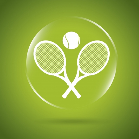 bounces: tennis icon bubble over green background illustration  Illustration