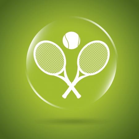 bounces: tennis icon bubble over green background illustration  Illustration