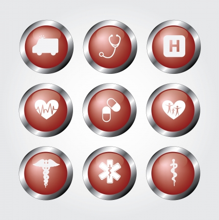 healthy icons over red background illustration  Vector
