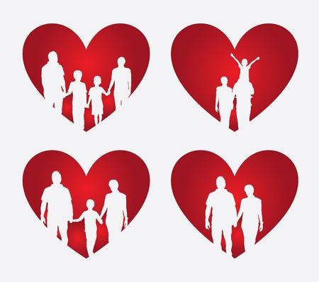 family heart over cream background illustration  Vector