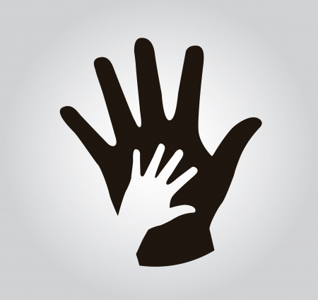 helping children: hands silhouette over gray background illustration