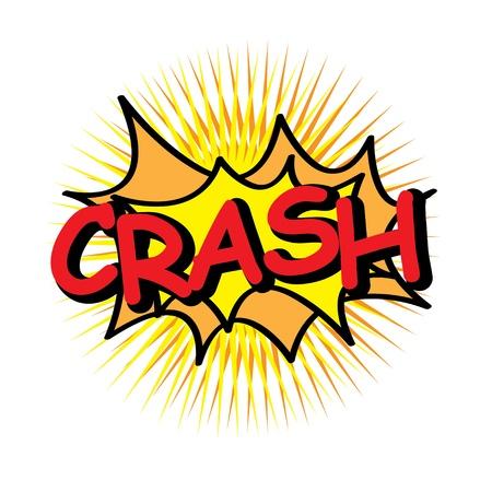 word art: crash icon over yellow background illustration