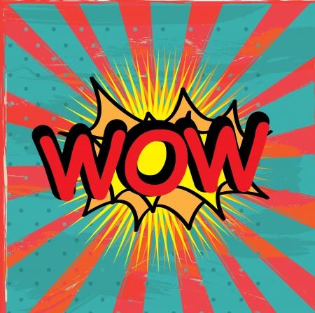 wow icon over grunge background illustration  Illustration