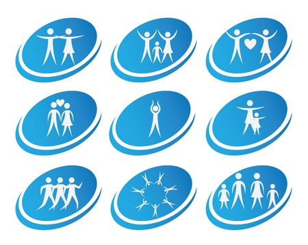 family physician: health icons over white background illustration