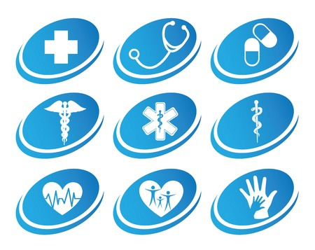medical icons over white background illustration Stock Vector - 19773167