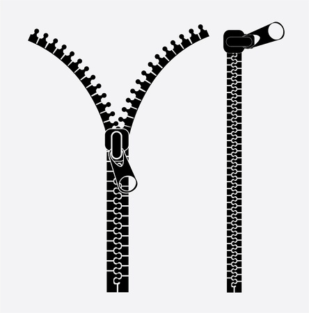 zippers icons over white background illustration